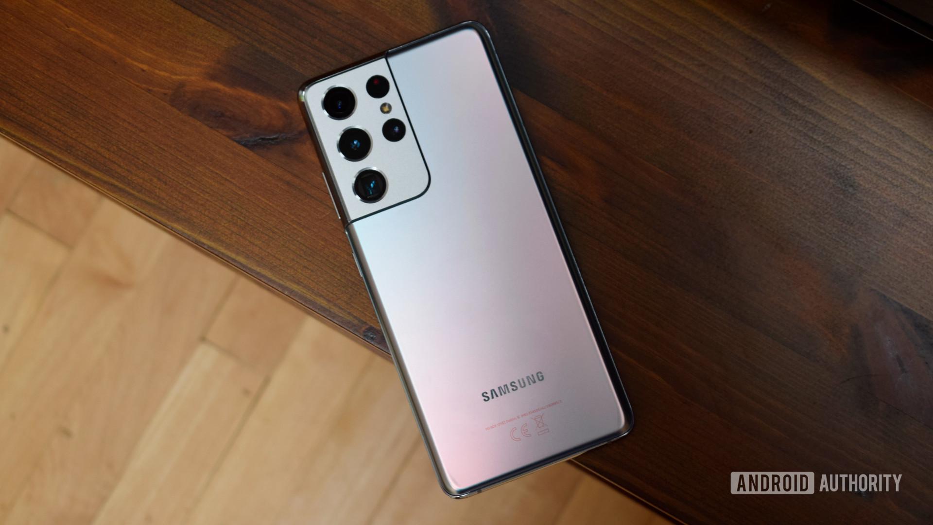 Samsung Galaxy S21 Ultra face down on desk