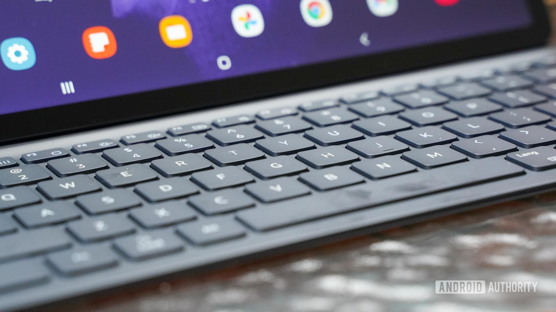Samsung Galaxy Tab S7 FE keyboard closeup