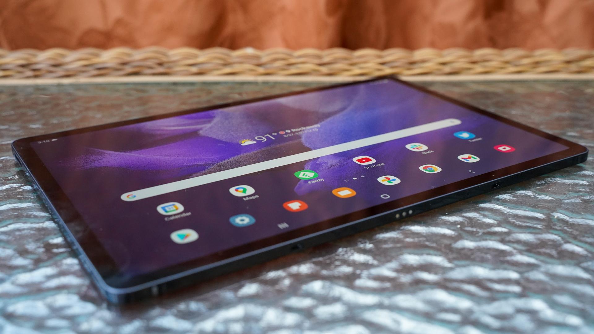 Samsung Galaxy Tab S7 FE laying at an angle