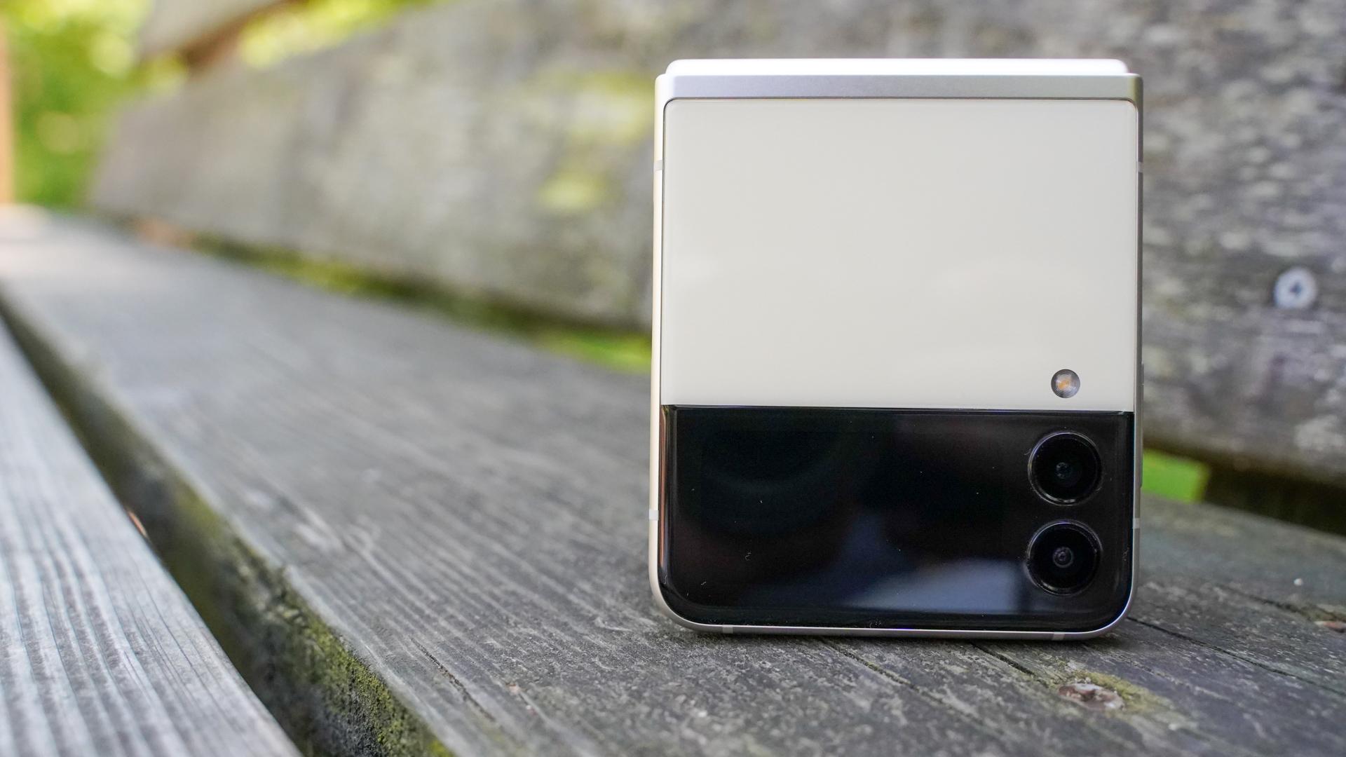 Samsung Galaxy Z Flip 3 closed on park bench