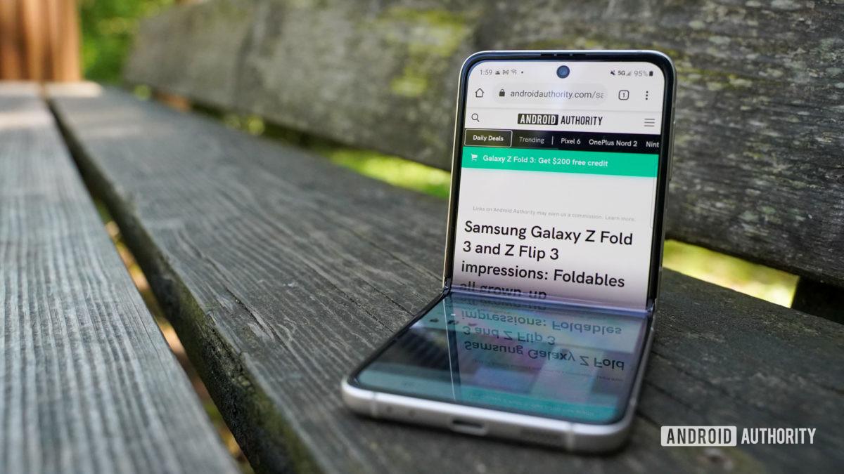 Samsung Galaxy Z Flip 3 half folded with AA