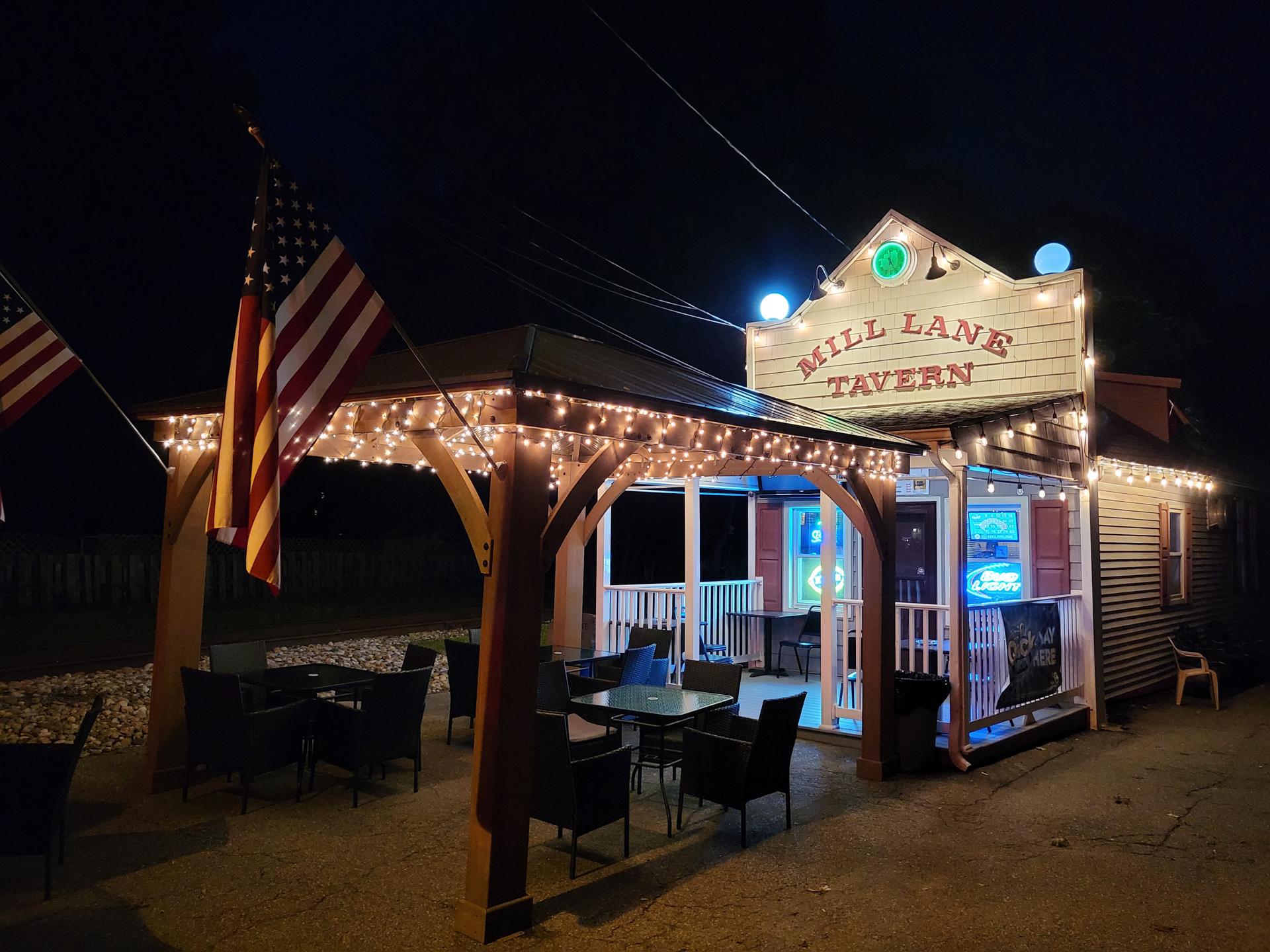 Samsung Galaxy Z Flip 3 photo sample Mill Lane Tavern at night