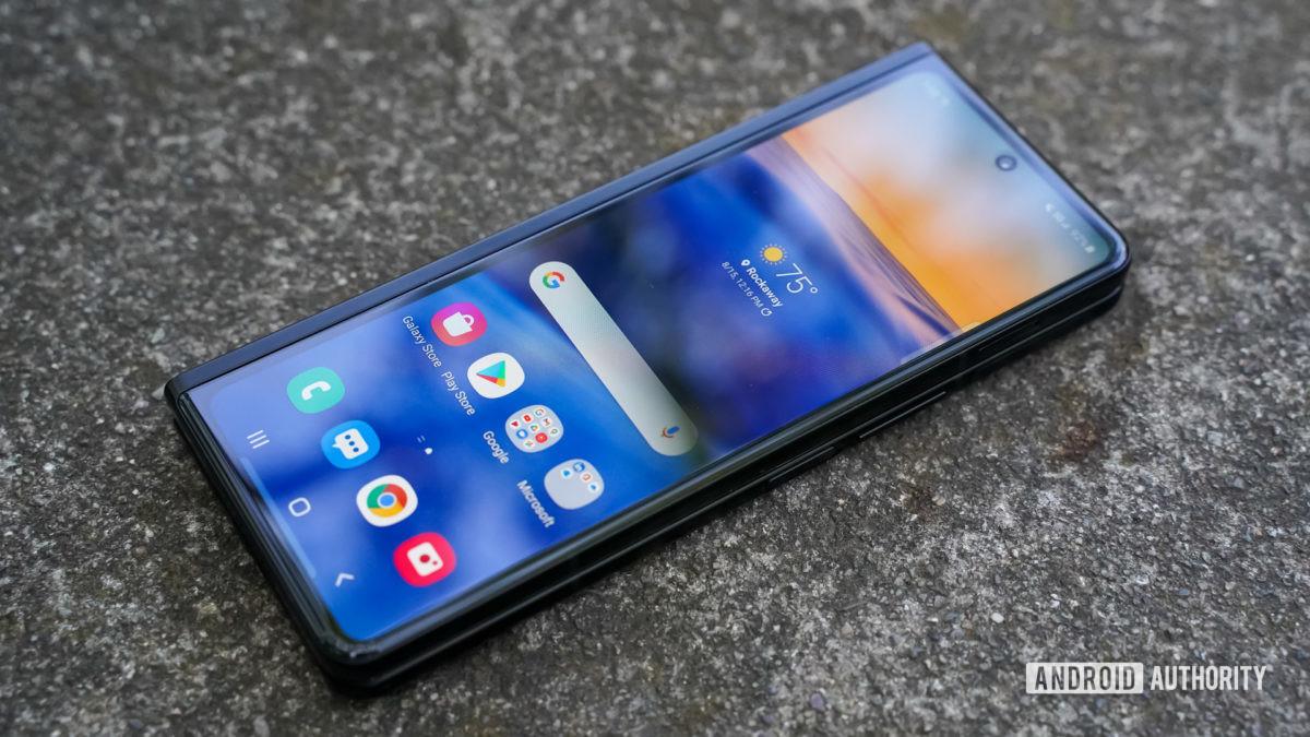 Samsung Galaxy Z Fold 3 angled display closed
