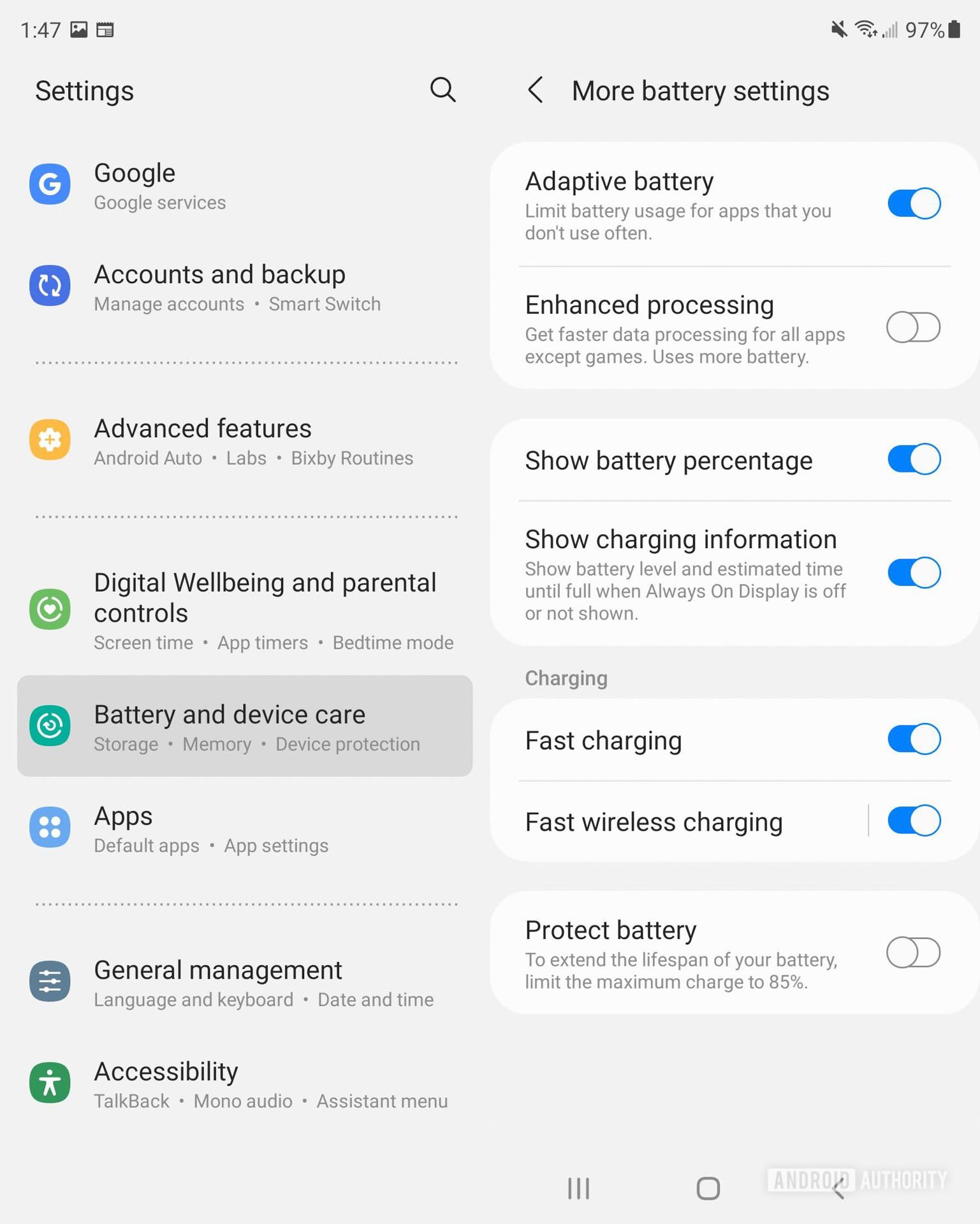 Samsung Galaxy Z Fold 3 battery settings