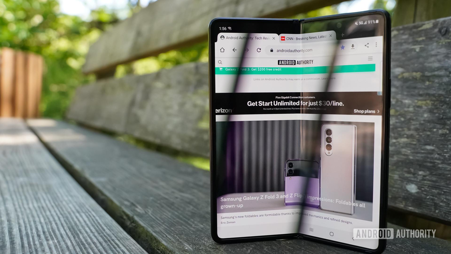 Samsung Galaxy Z Fold 3 open screen bench