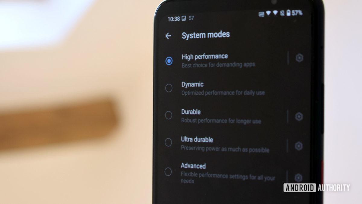 Smartphone for Snapdragon Insiders Performance Mode Settings Menu