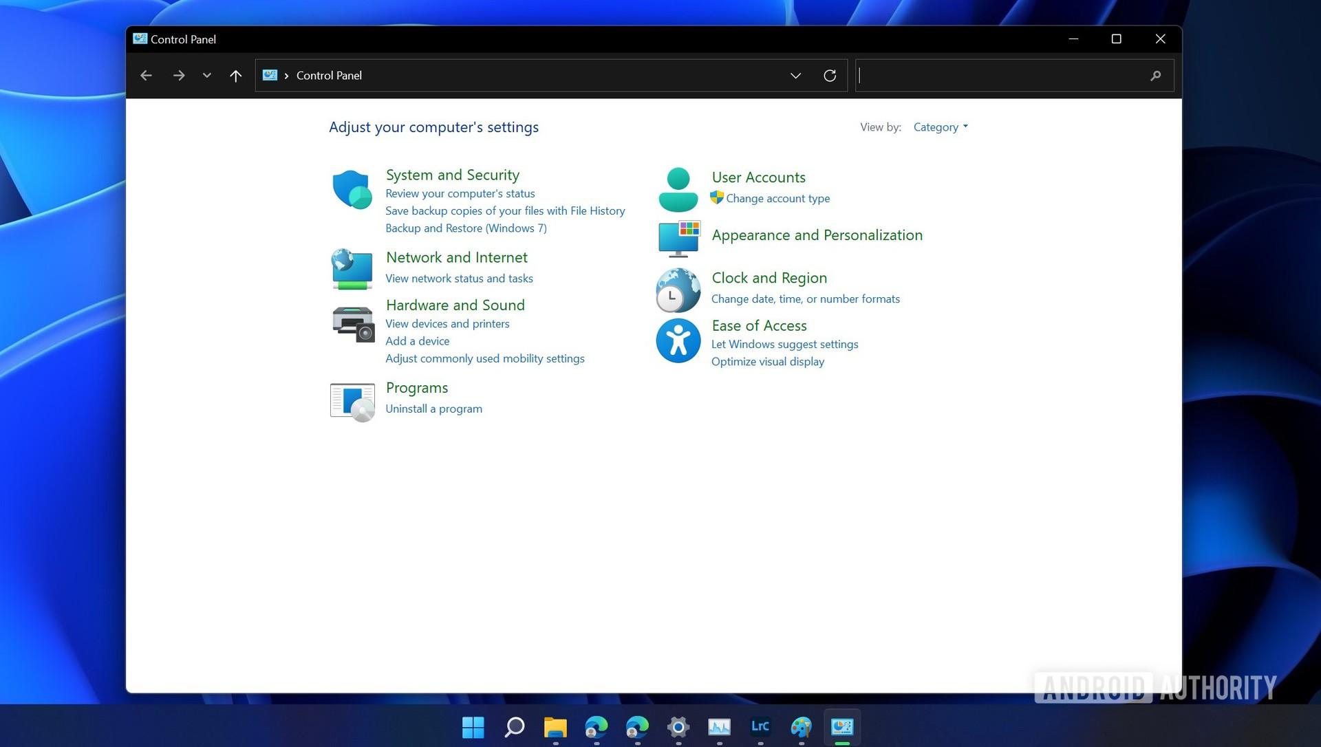 Windows 11 beta control panel