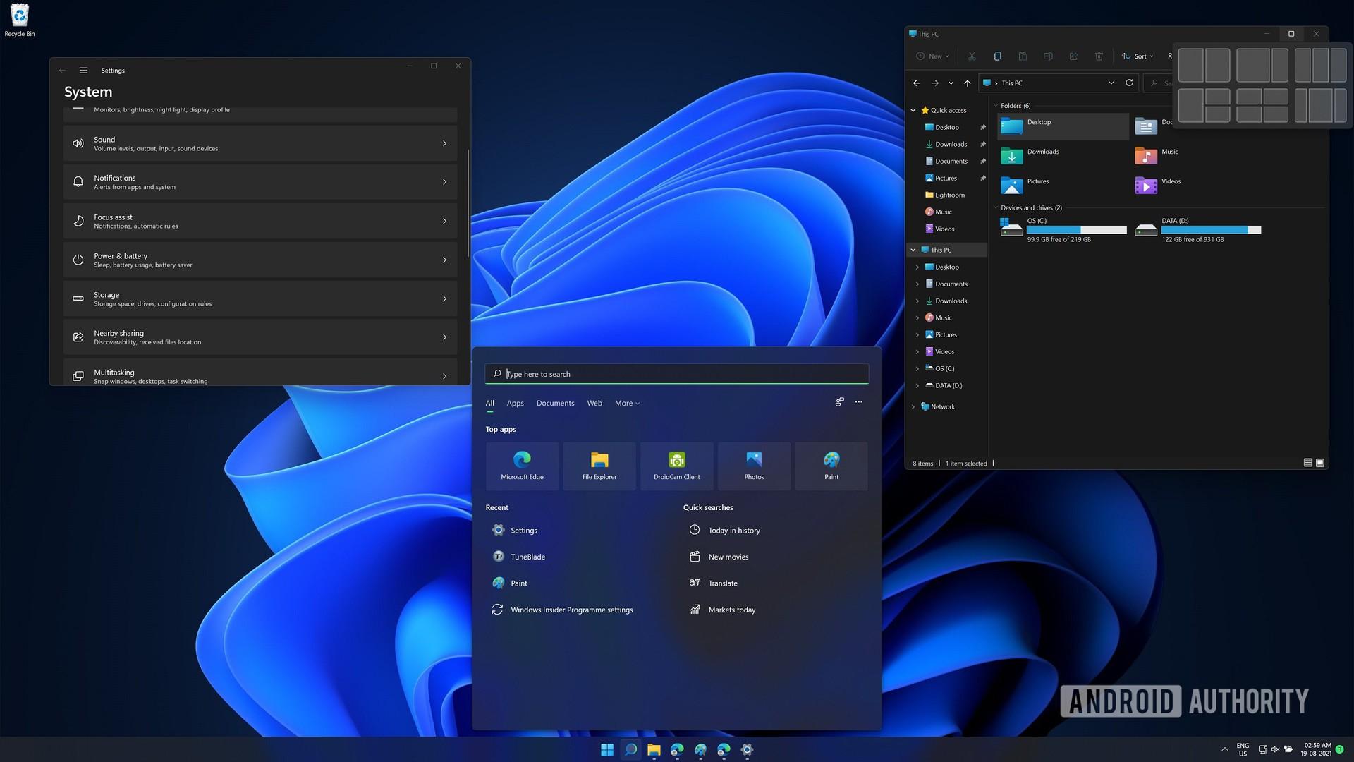 Windows 11 beta settings search and window layouts