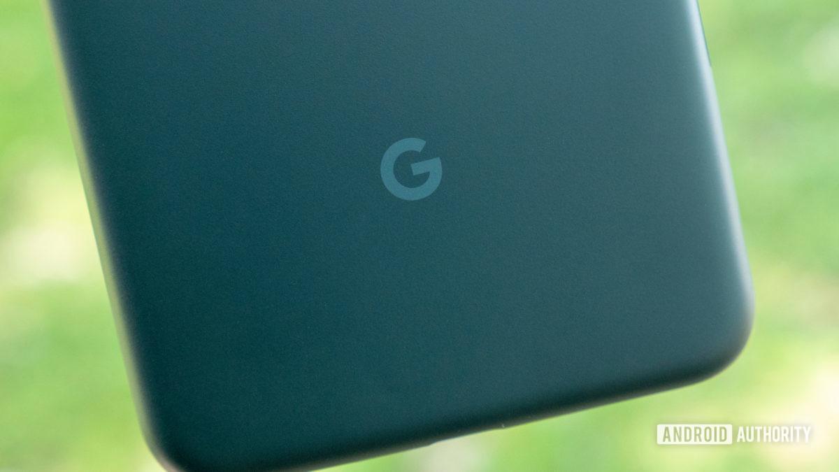 a close up of the google pixel 5a google logo g logo