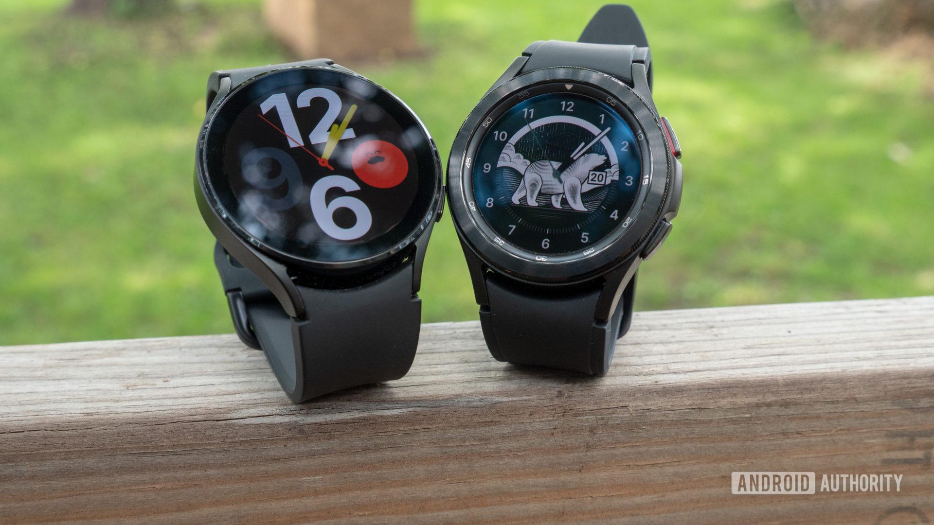 The Samsung Galaxy Watch 4 and Samsung Galaxy Watch 4 Classic on a fence.