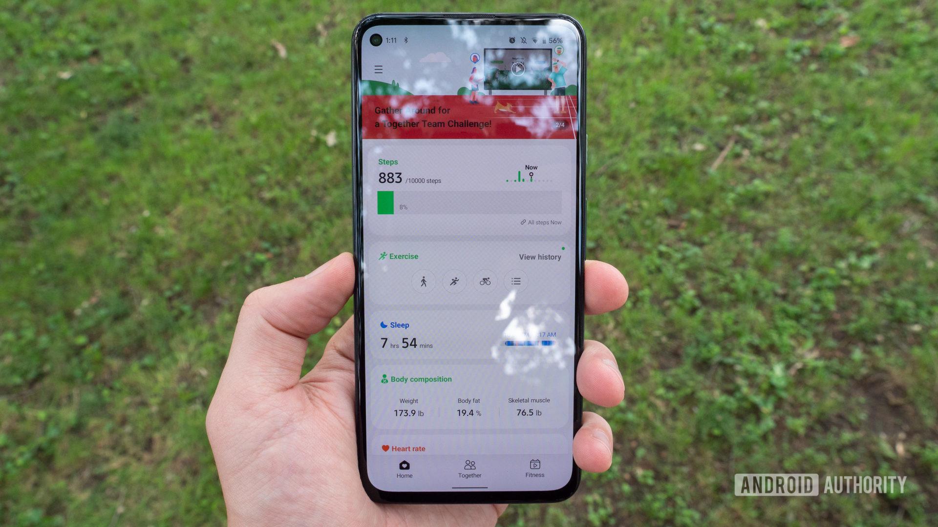 The Samsung Health app running on a Google Pixel 5a.