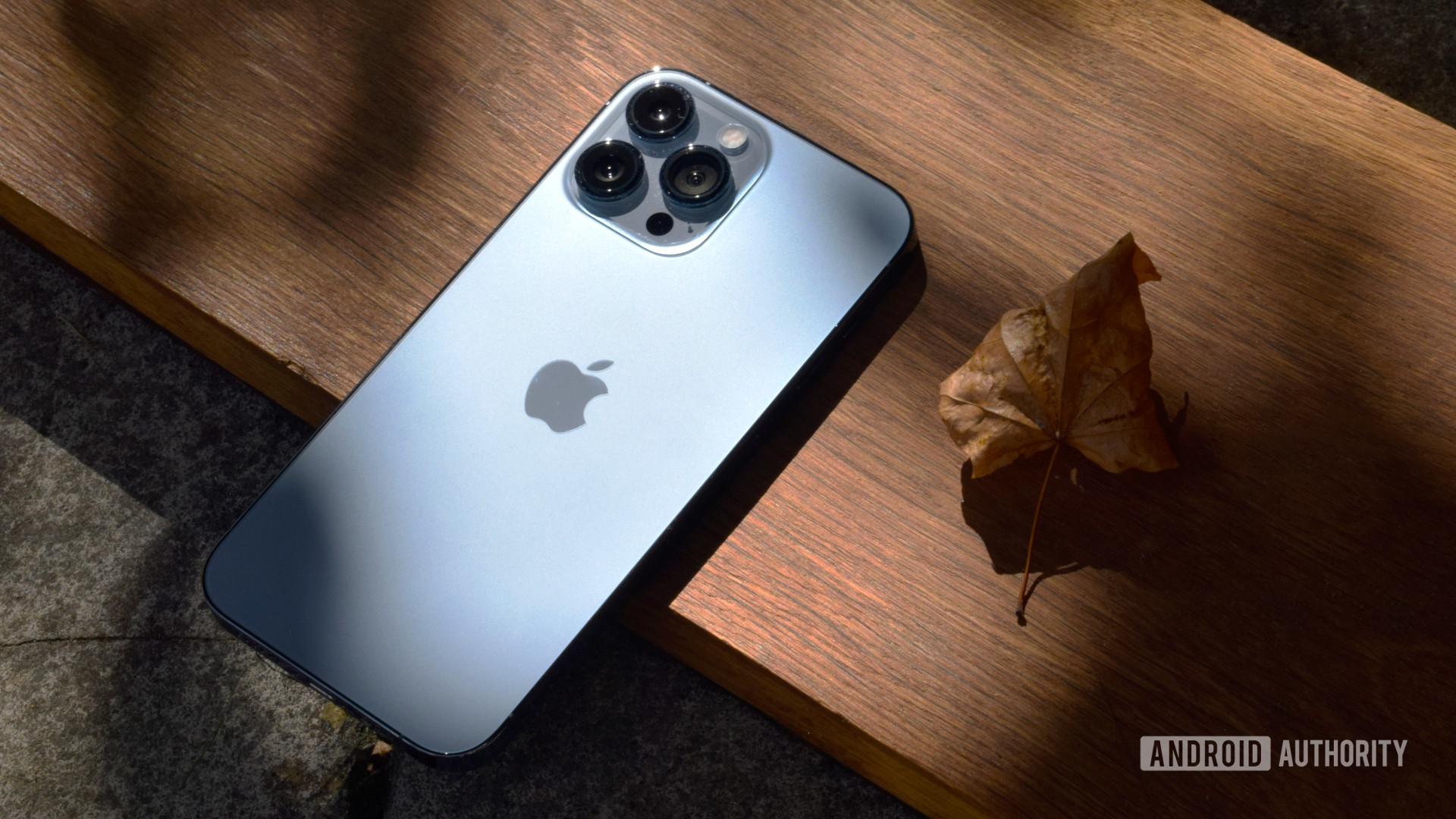 Apple iPhone 13 Pro Max hero image on wood 3