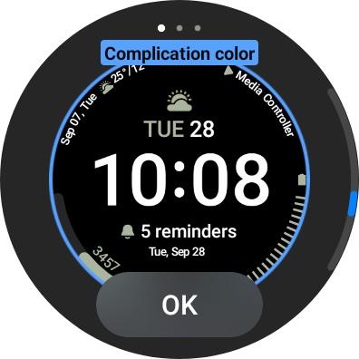 Galaxy Watch 4 Screenshot Face Complication Colors