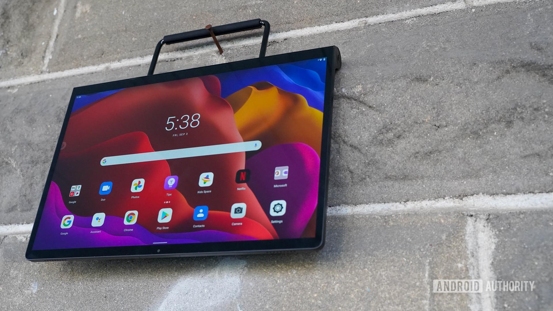 Lenovo Yoga Tab 13 hanging from hook