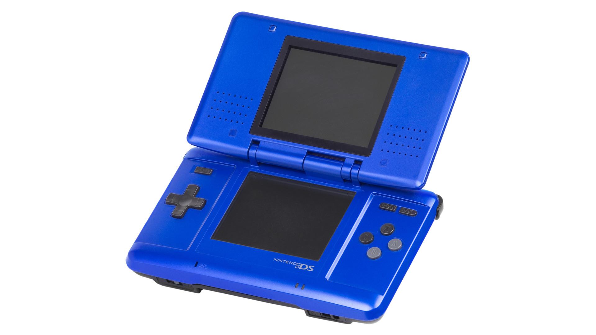 Nintendo DS in blue, open.
