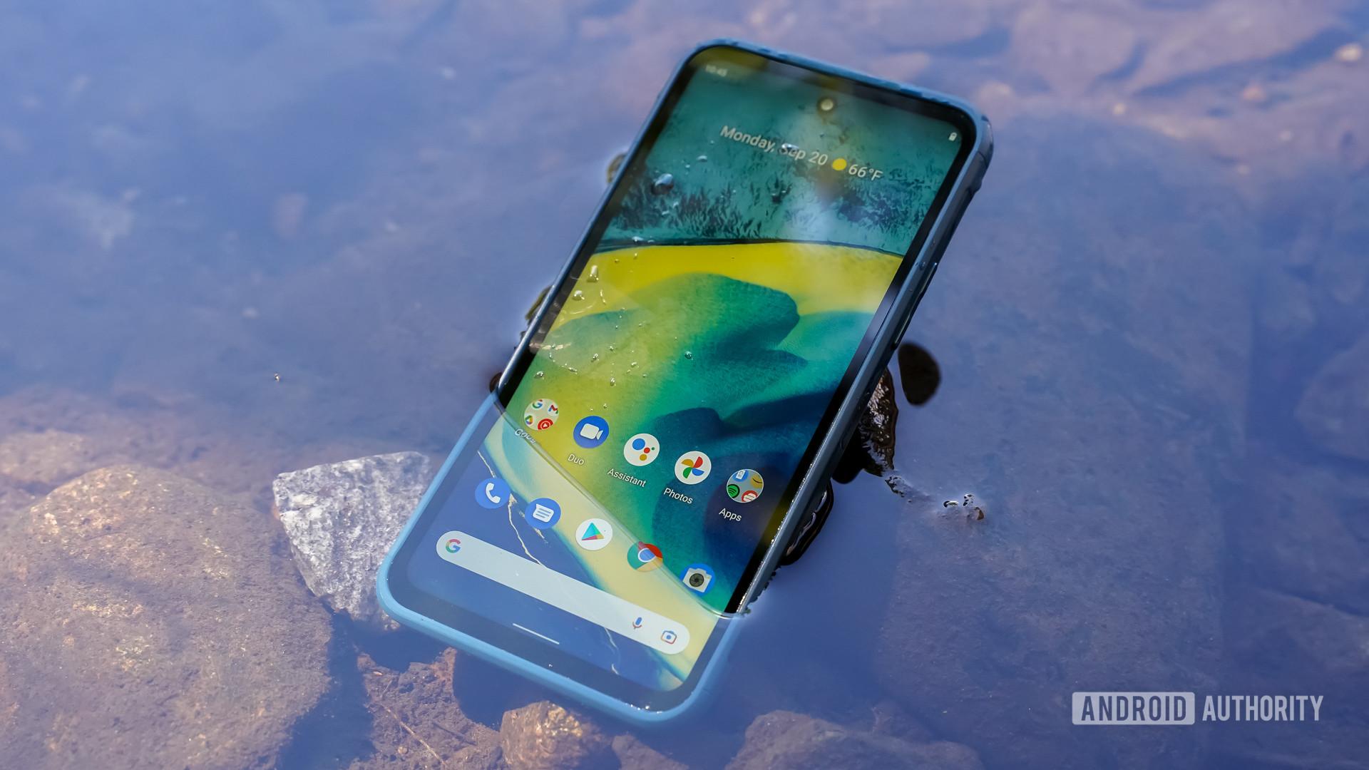 Nokia XR20 half submerged in water