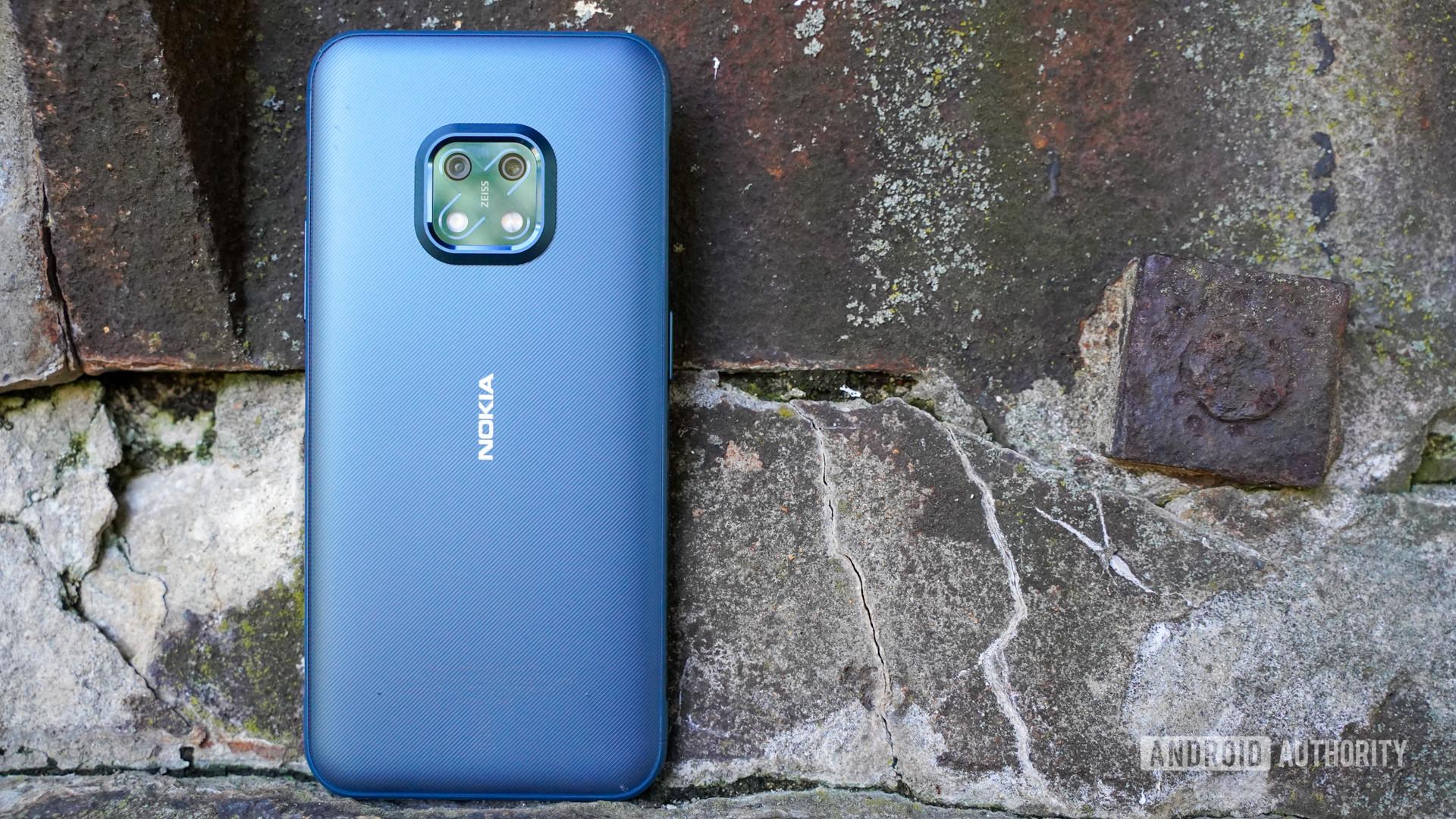 Nokia XR20 rear against rocks