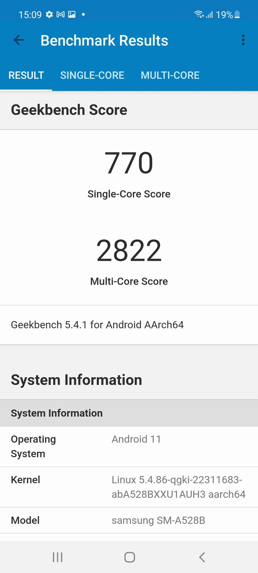 Samsung Galaxy A52s 5G geekbench