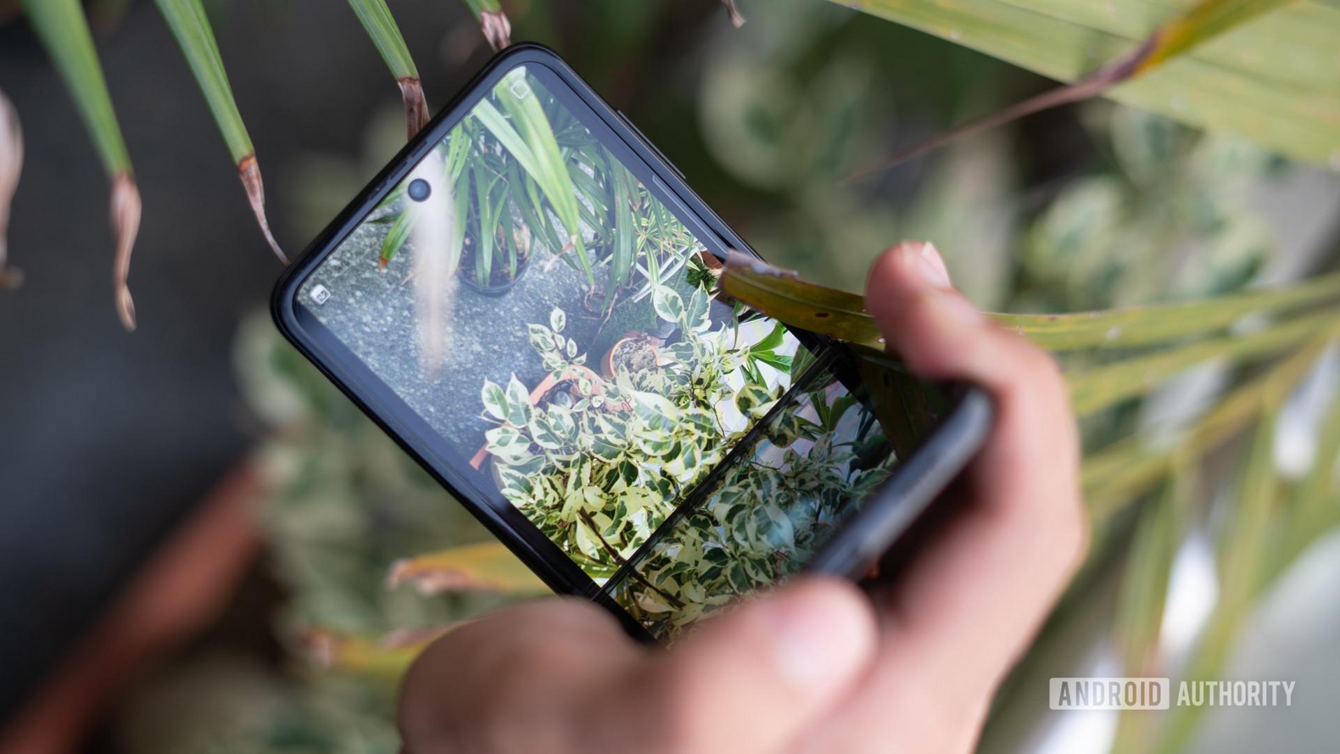 Samsung Galaxy Z Flip 3 half flip with camera on