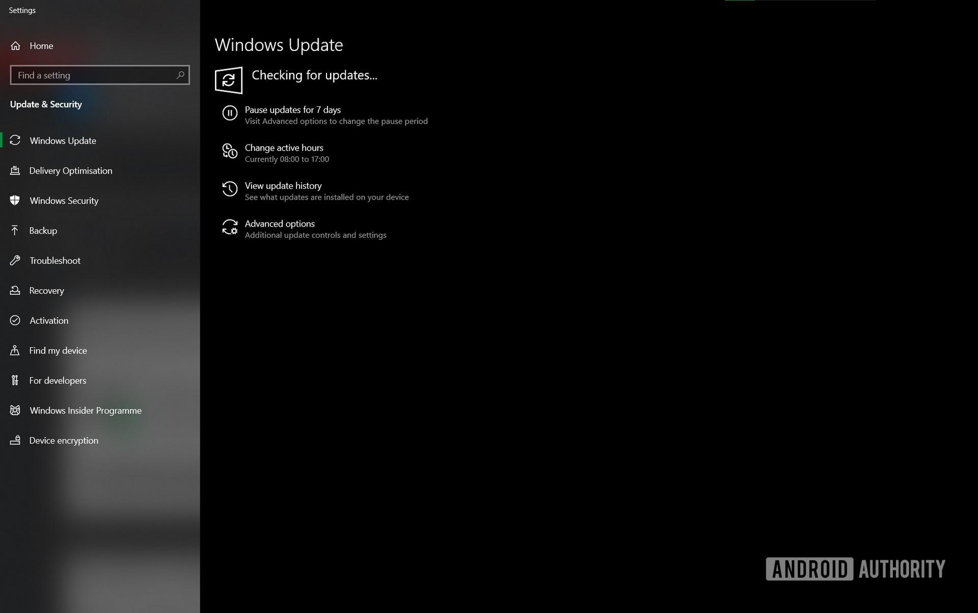 Windows Insider Program checking for update