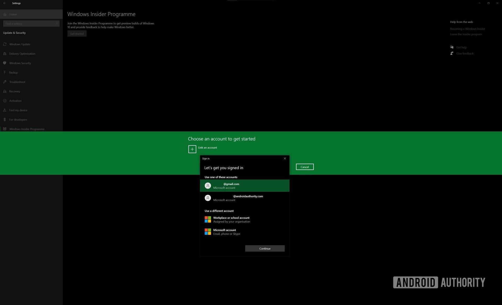 Windows Insider Program link account selection