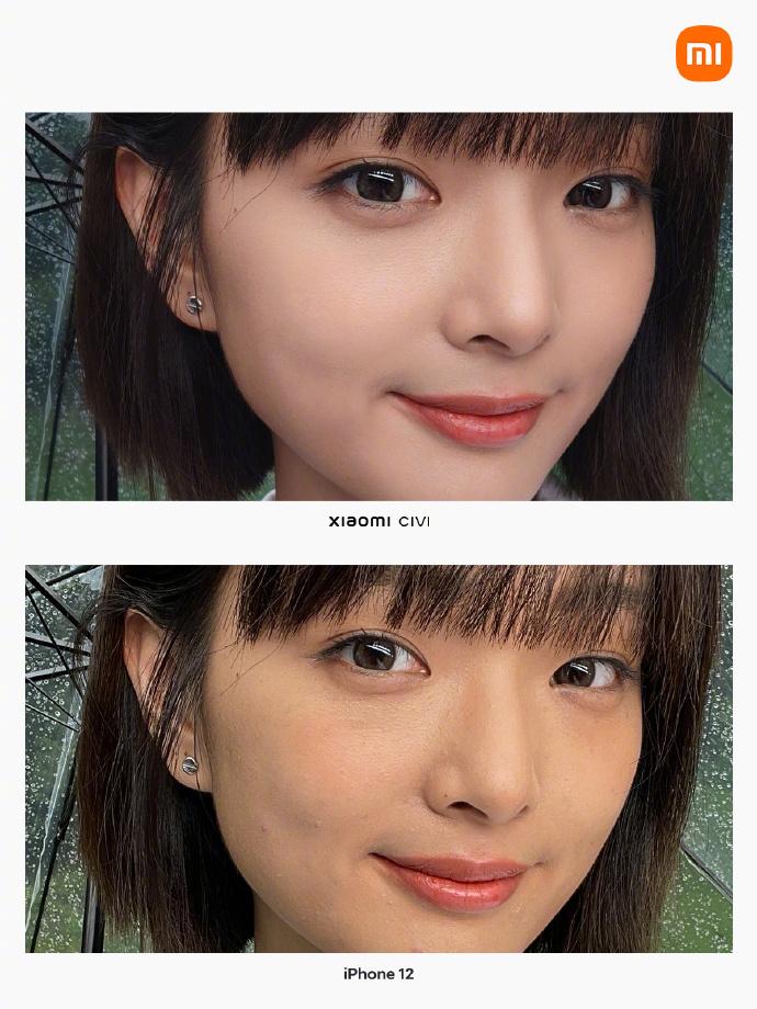 Xiaomi Civi contre iPhone 12 selfie