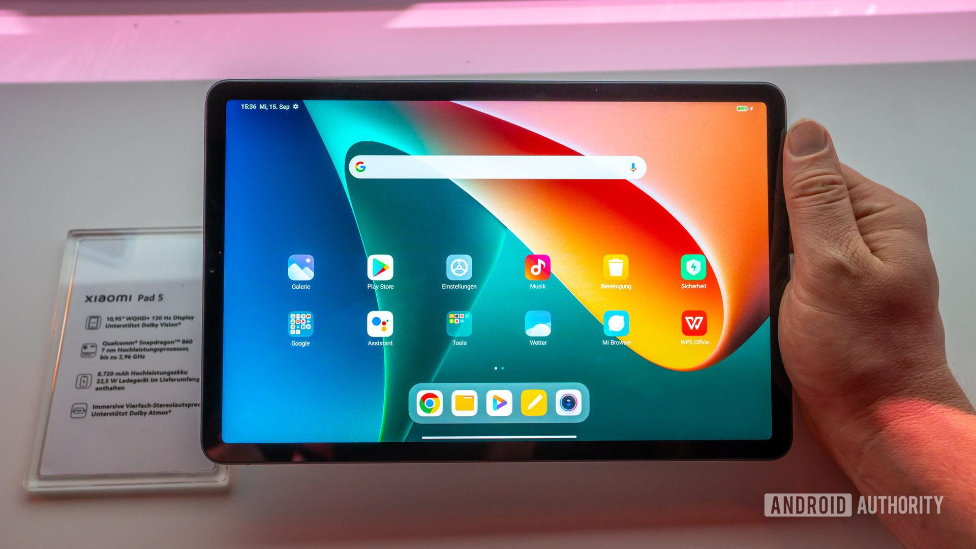 Xiaomi Pad 5 home screen