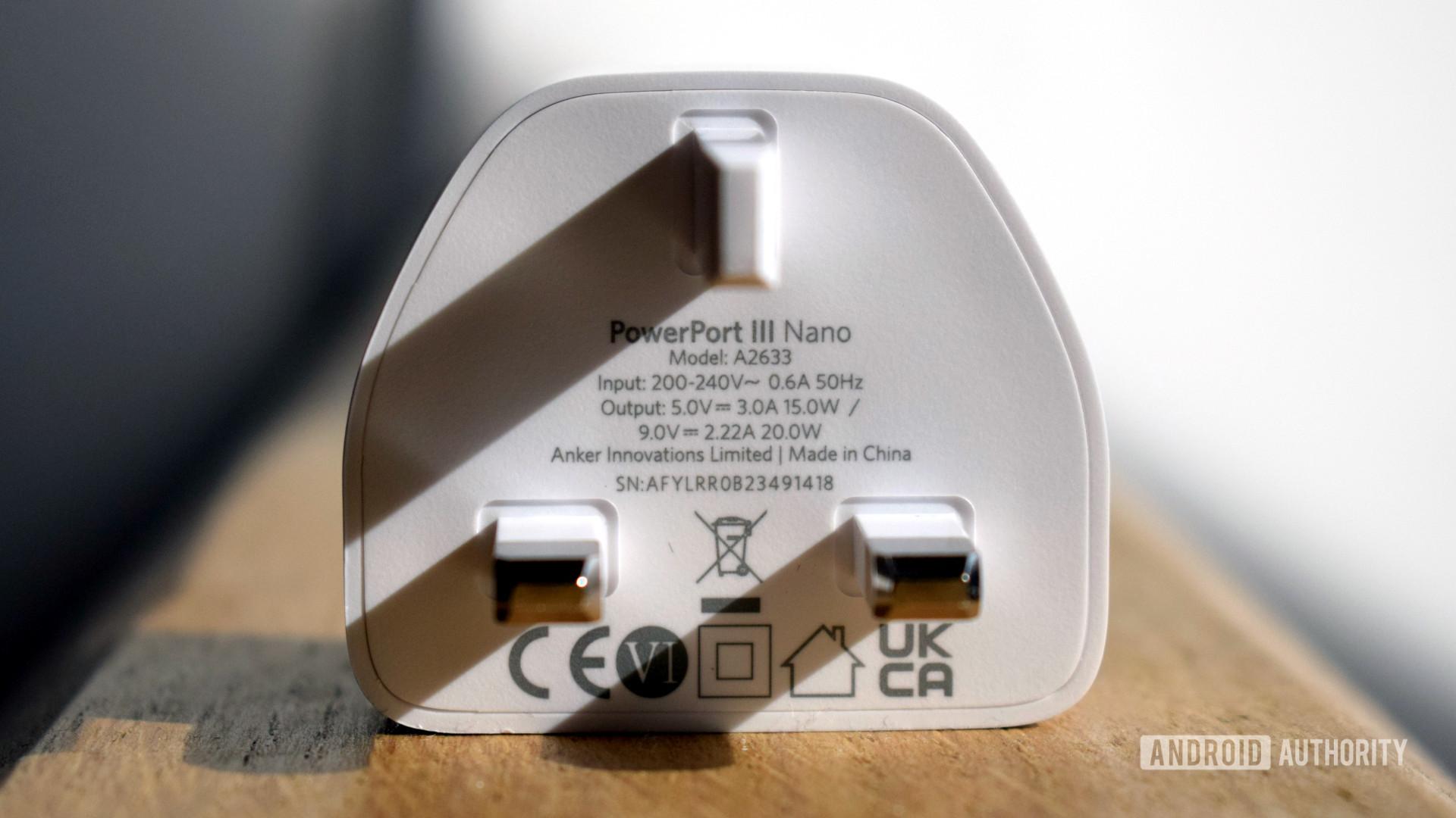 Anker PowerPort III Nano plug specs