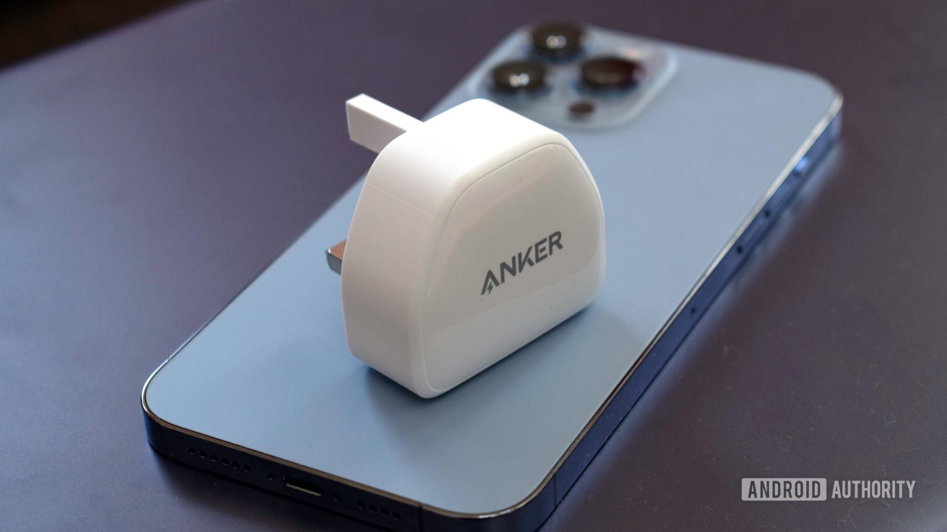 Anker PowerPort III Nano size on iPhone