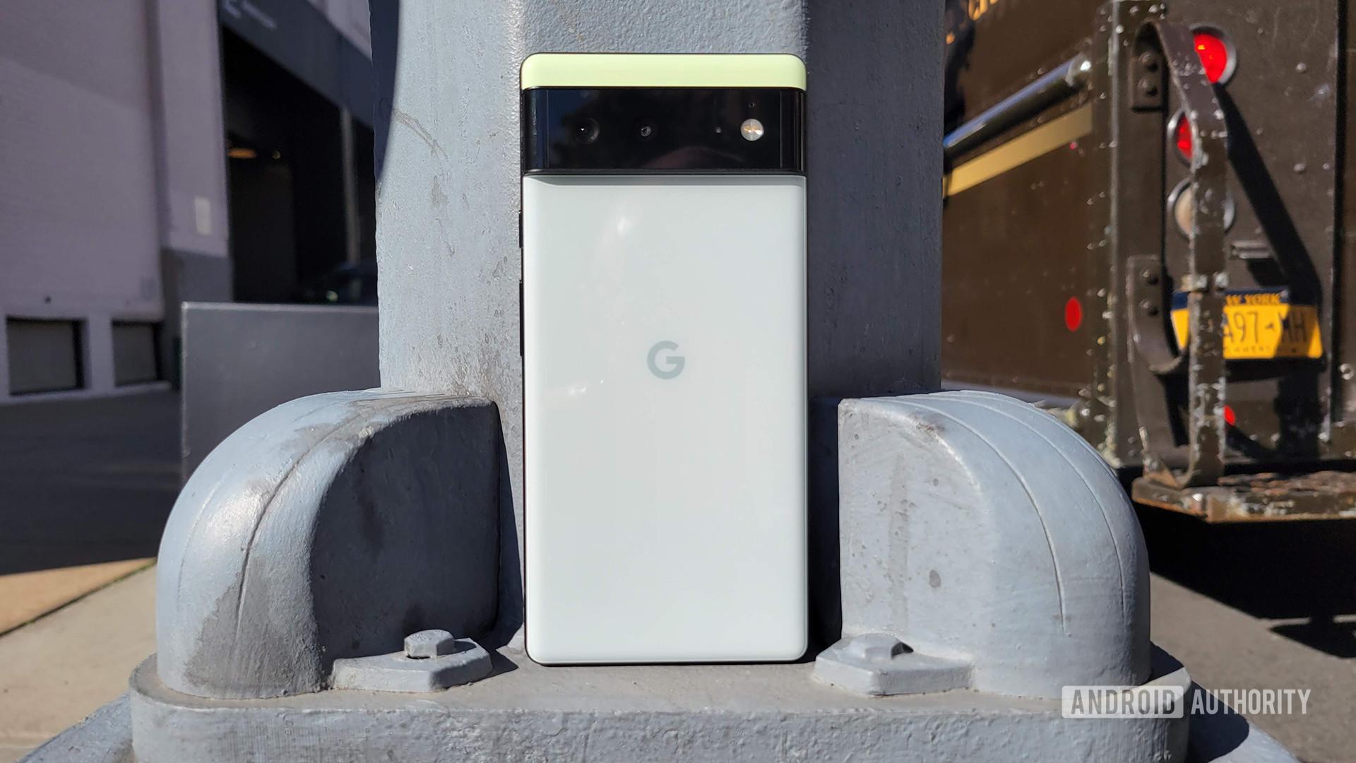 Google Pixel 6 against lamp post