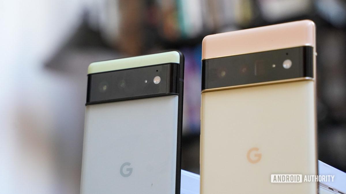 Google Pixel 6 and Pixel 6 Pro angled camera closeups