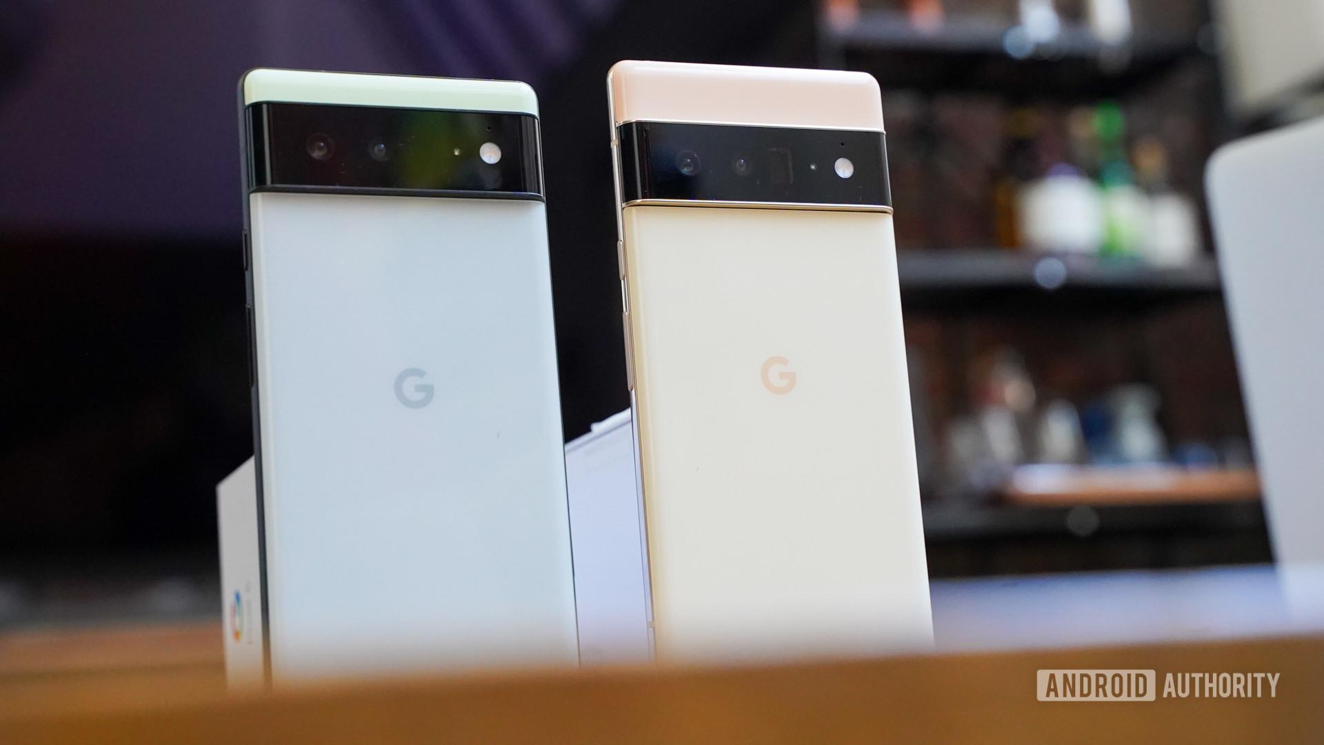 Google Pixel 6 and Pixel 6 Pro left angled rear panels