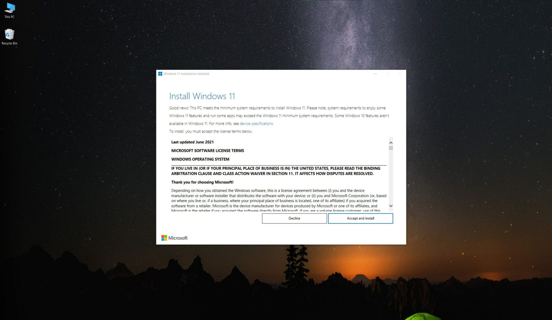 Windows 11 installation assistant license