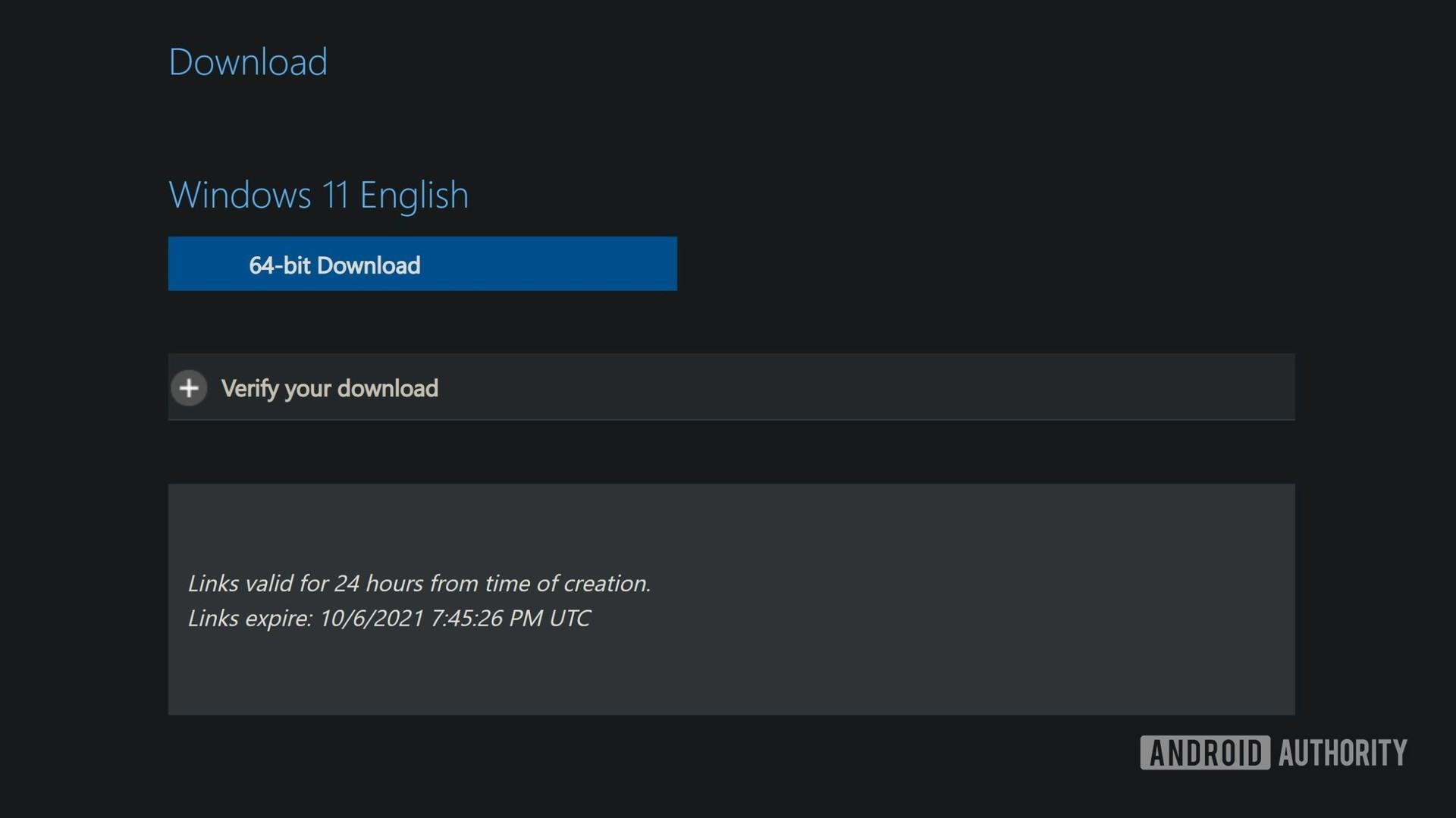 Windows 11 official ISO obtain button