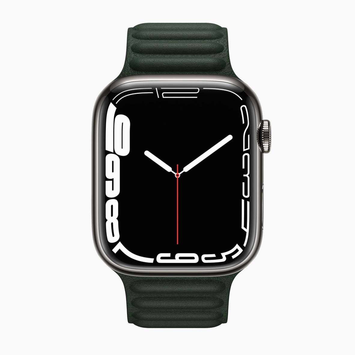 apple watch series 7 press render green leather strap