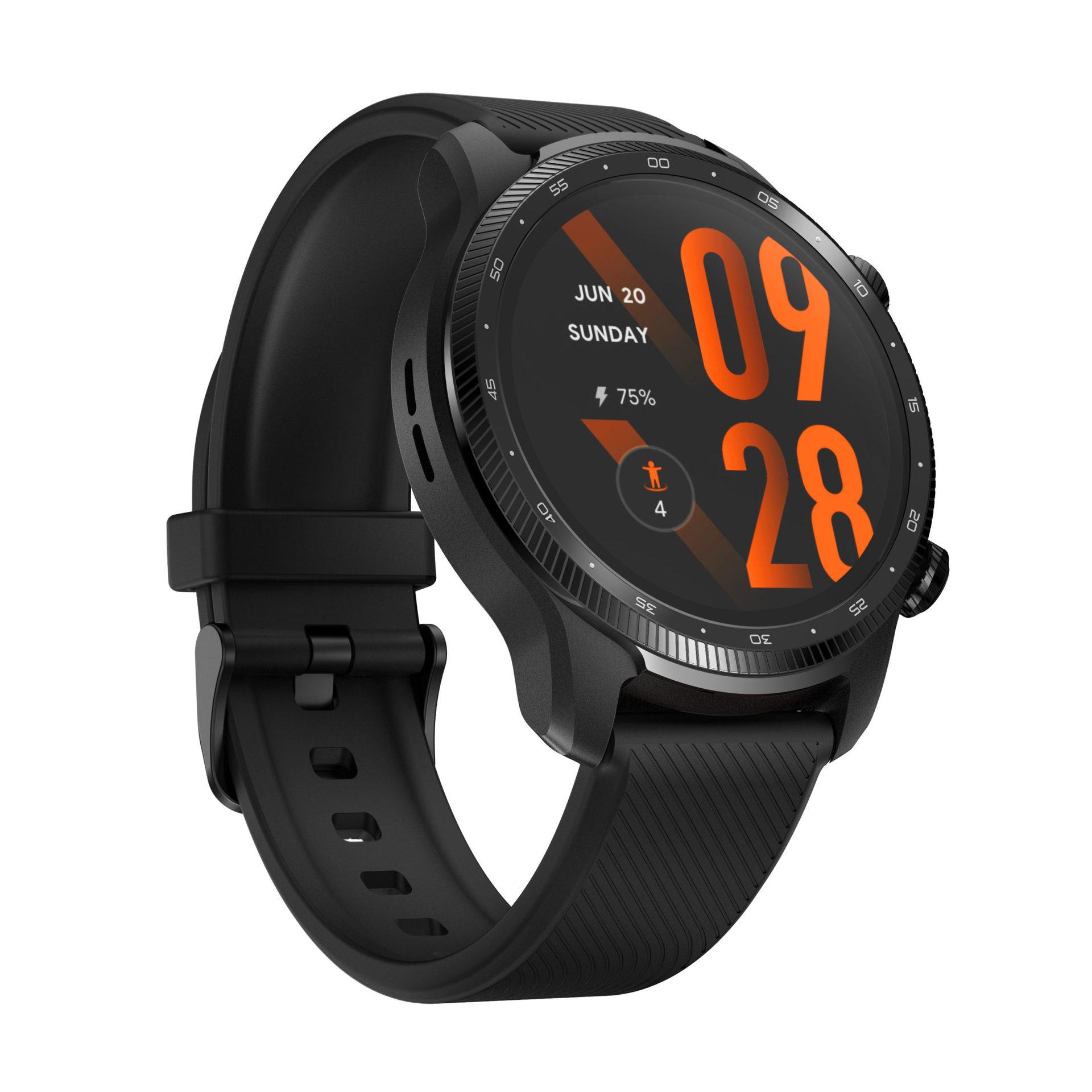 The Mobvoi TicWatch Pro 3 Ultra smartwatch in Phantom Black color.