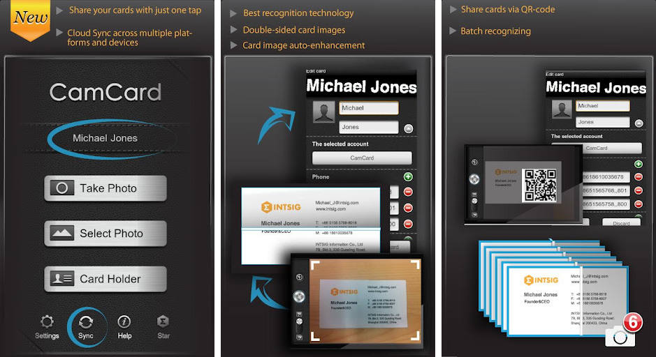Best android apps for scanning business cards android authority probably the best professional business card reader that you can find in the google play store is camcard lite business card r a business card reading reheart Images